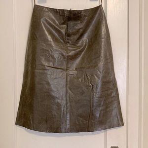 Banana Republic olive green leather skirt